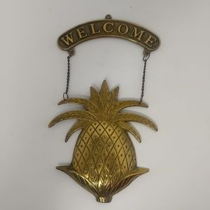 Vintage Brass Hanging Welcome Pineapple Sign